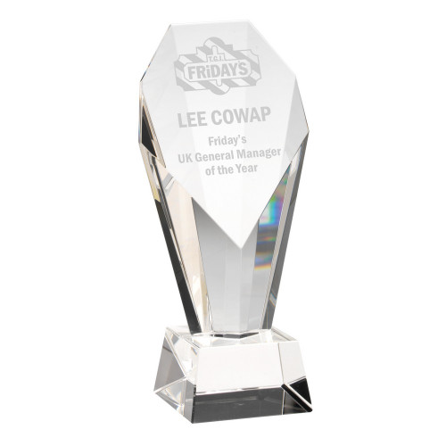 Exquisite corporate premium glass diamond cut trophy