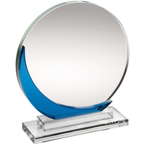 Circular premium glass corporate trophy at 1stPlace4Trophies