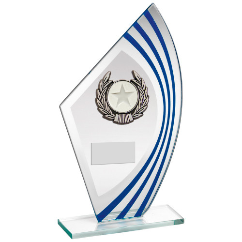 Multi activity glass sail shaped trophy with FREE engraving.