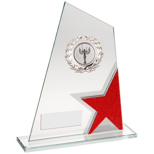 Multisport glass award with red star corner trim FREE engraving