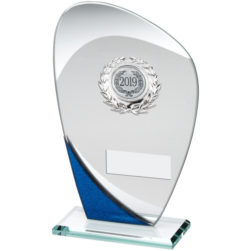 Multisport glass award with blue corner trim FREE engraving