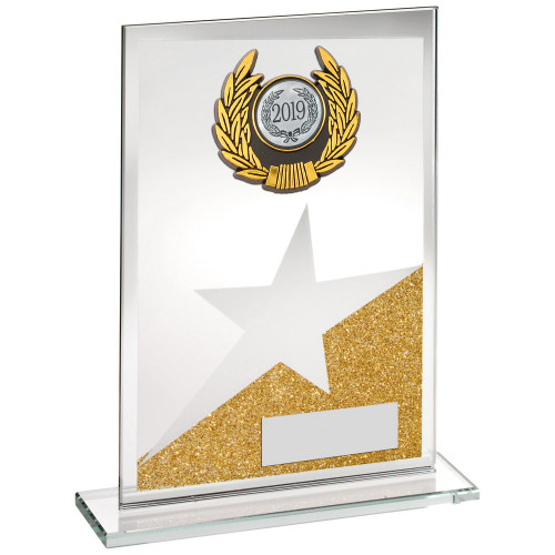 Gold glitter glass trim award with star. FREE engraving.