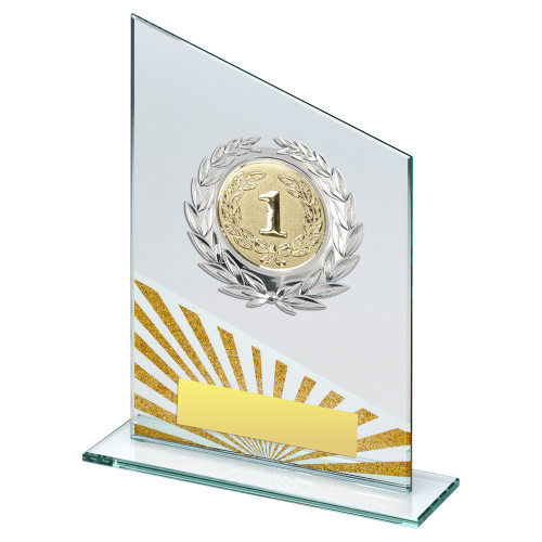 Slanted glass gold glitter multisport award with FREE engraving.