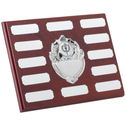 Mahogany 12 Year Engraving Plaque with 13 chrome engraving plates.