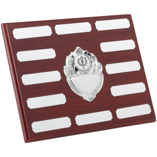 """7 x 9"""" Mahogany 12 Year Engraving Plaque with 13 chrome engraving plates."""
