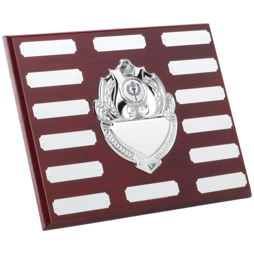 """8 x 10"""" Mahogany 14 Year Engraving Plaque with 15 chrome engraving plates."""