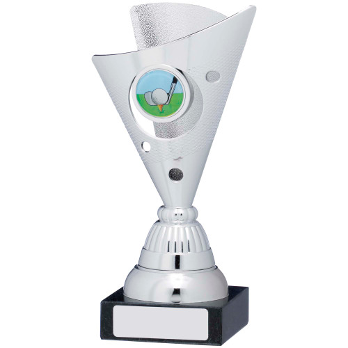 Silver Multisport Wide Cone shaped trophy with FREE engraving