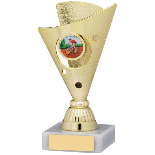 Gold Wide Cone shaped trophy with FREE engraving