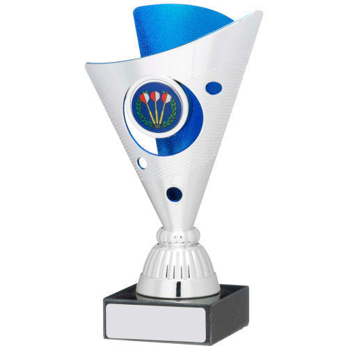"6"" Budget silver & blue multisport trophy FREE engraving"