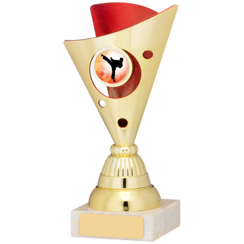 """6.75"""" Budget gold & red multisport trophy FREE engraving"""