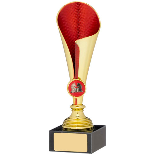 """8.25"""" Gold & Red Curved Cup Trophy FREE Engraving"""