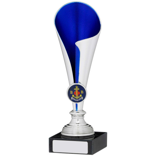 "7.75"" Silver & Blue Curved Cup Trophy FREE Engraving"