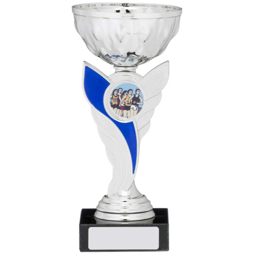 Silver & Blue Multisport Cup with FREE engraving