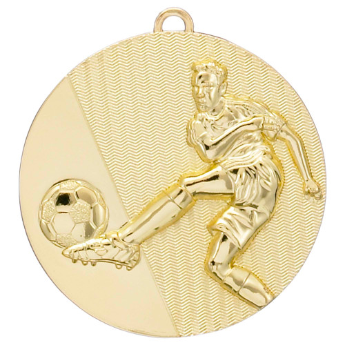 50mm Gold Embossed Football Medal