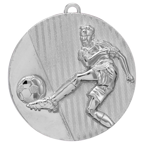 50mm Silver Embossed Football Medal