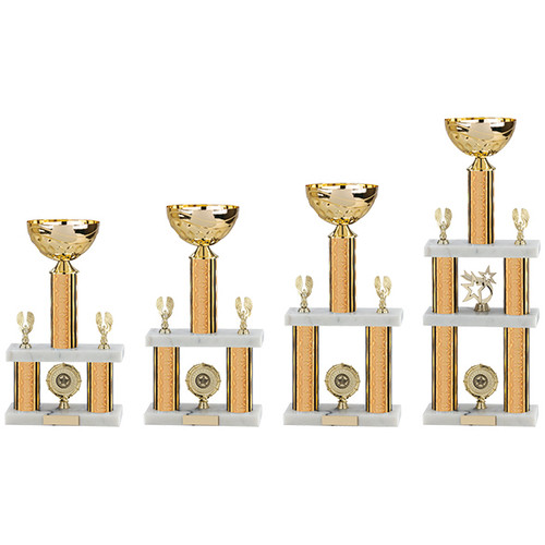 2 and 3-tier gold column tower trophy cup - 4 heights