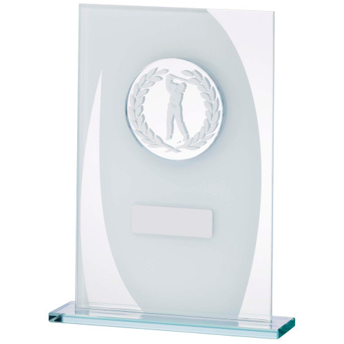 Jade Glass Swinging Golfer trophy with FREE engraving