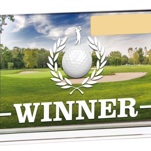 WINNER Colour Glass Golf Plaque  15 x 10cms