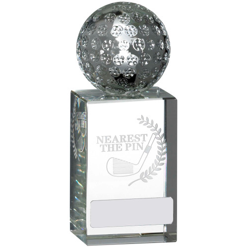 Full 3D Golf Ball on Laser engraved glass Nearest the Pin Award