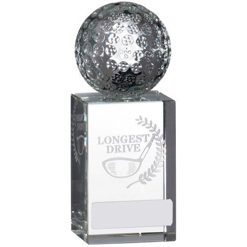 Full 3D Golf Ball on Laser engraved glass Longest Drive Award