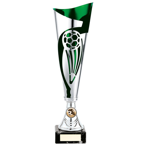 Champions silver and green laser football cup with FREE engraving at 1st Place 4 Trophies