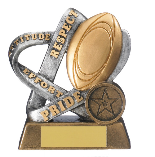 Infinity gold & silver rugby respect trophy with FREE engraving
