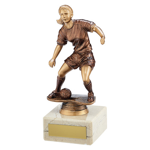 Swerve budget female football player trophy in 2 sizes