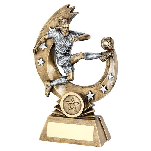 Striker Action Female Football Trophy in 3 sizes