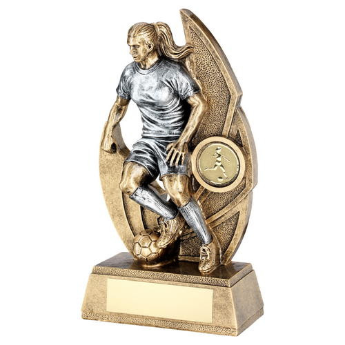 Stunning female action football trophy in 4 sizes