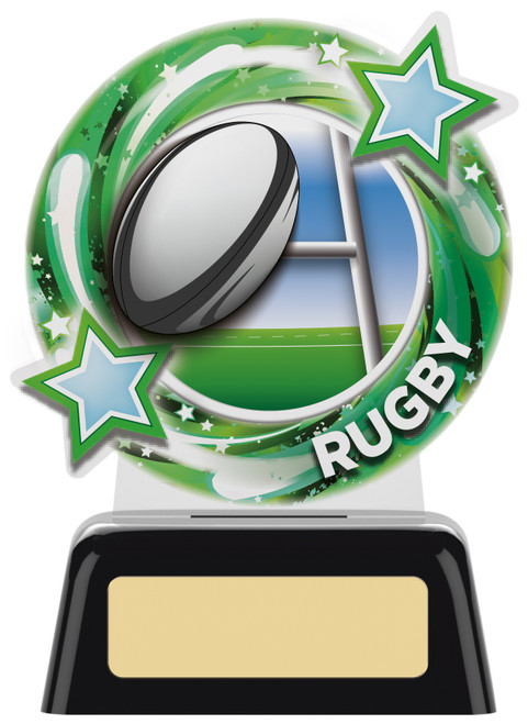 Budget acrylic rugby award in 2 sizes