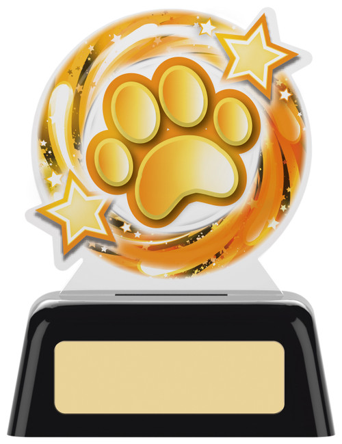 Budget acrylic Pet Paw award with FREE engraving