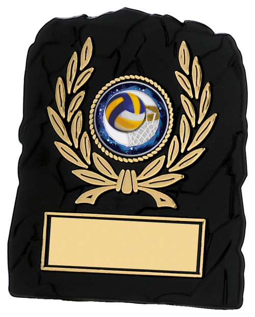 Black textured gold laurel multisport plaque