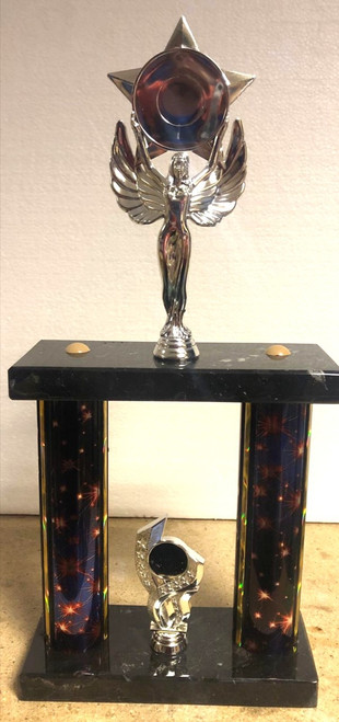 "16"" 2 tier purple & black starlight tower silver angel trophy"