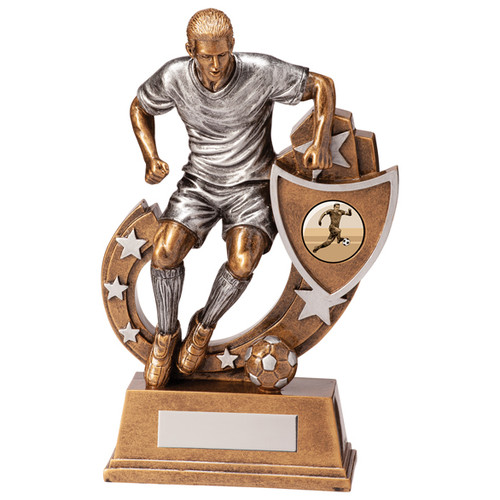 Galaxy male football trophy with customised shield in 5 sizes