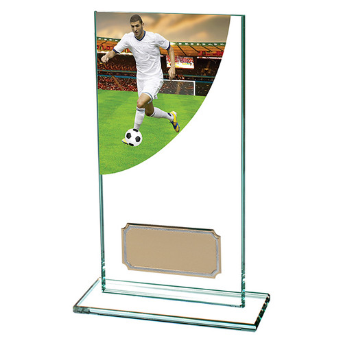 Colour Curve football jade glass trophy in 5 sizes