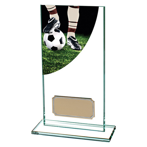 Colour Curve football boot and ball glass trophy