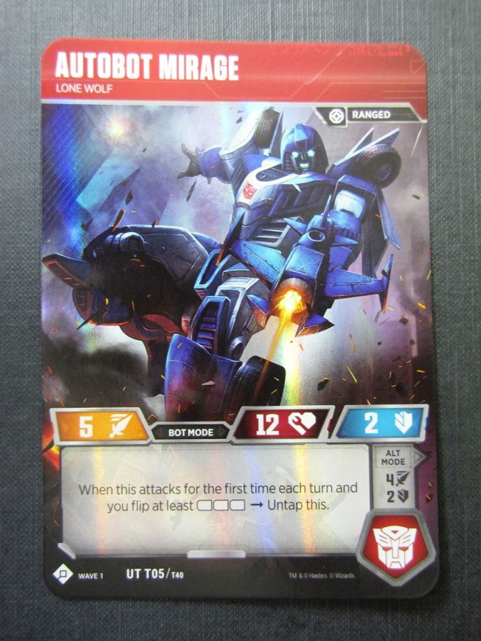 Autobot Mirage UT T05//T40 Transformers Cards # 7C10