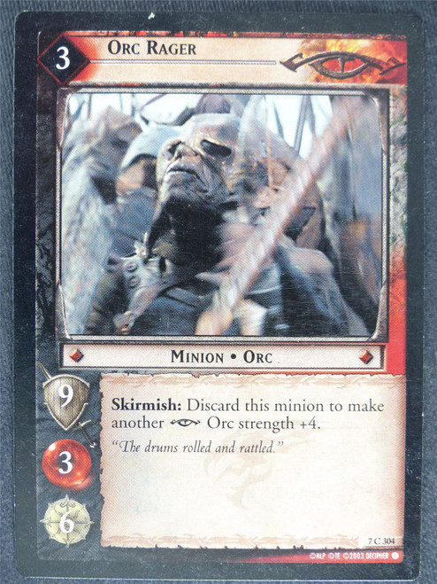 Orc Rager 7 C 304 - played - LotR Cards #YM