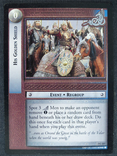 His Golden Shield 7 C 237 - played - LotR Cards #VN