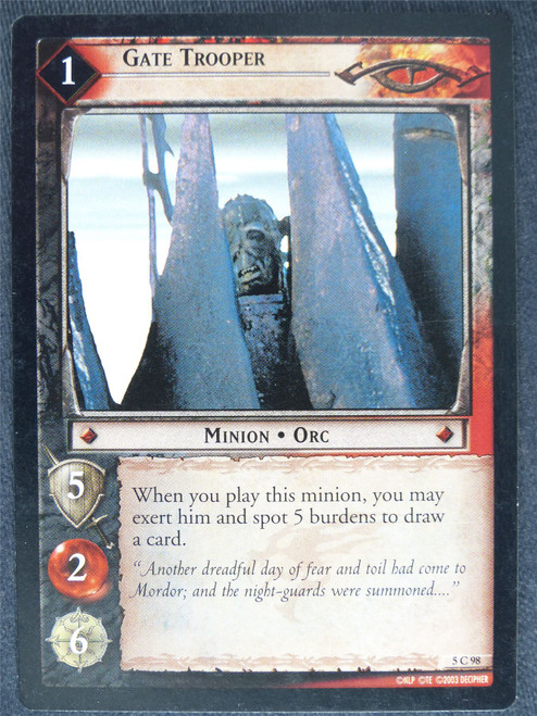 Gate Trooper 5 C 98 - played - LotR Cards #XQ