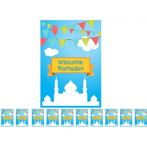 Welcome Ramadan -  Flags (Pack of 10) English Text Only