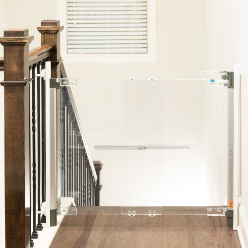 Crystal® Designer Baby Gate blocking off staircase