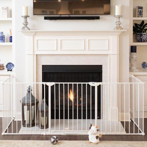 Construct-A-SafeGate across a fireplace