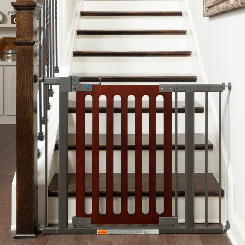 Spectrum Designer Baby Gate at the bottom of stairs