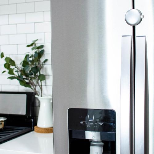 Adhesive Fridge/Freezer Lock in a stylish kitchen