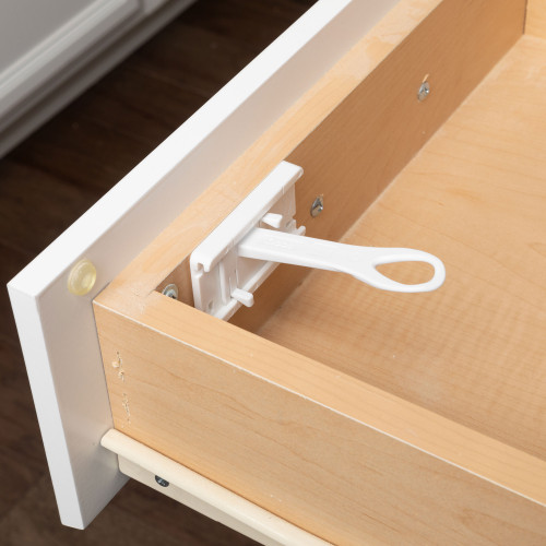 SureCatch® Top Drawer Adhesive Latch in a drawer