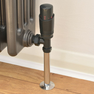 050 Modern TRV Angled Anthracite Thermostatic Radiator Valves with Sleeves
