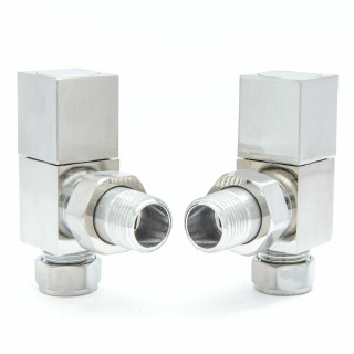 013 Modern Manual Angled Satin (Brushed) Nickel Radiator Valves