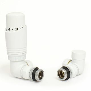 052 Modern TRV Corner White Thermostatic Radiator Valves