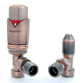 040 Modern TRV Angled Antique Copper Thermostatic Radiator Valves